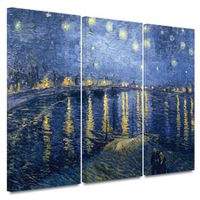3 Piece 'Starry Night over the Rhone' Gallery-Wrapped Canvas Art Vincent van Gogh