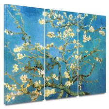 'Almond Blossom' Gallery-Wrapped by Vincent Van Gogh 3 Piece Prints of Paintings on Canvas Set in Blue