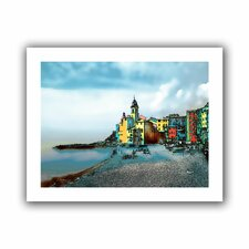 'Camogli Italy Beachside Signed' by Linda Parker Unwrapped on Canvas