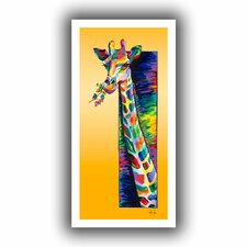 'Giraffe Eating' by Linzi Lynn Canvas Poster