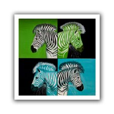 'Zebras Blue Green' by Lindsey Janich Unwrapped on Canvas