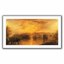 'The Lake, Petworth Sunset, a Stag Drinking' by William Turner Unwrapped on Canvas
