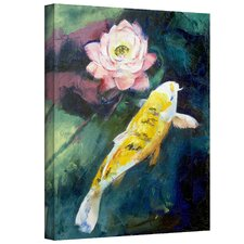 'Koi and Lotus Flower' by Michael Creese Gallery-Wrapped on Canvas