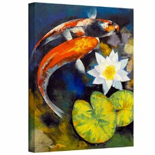 'Koi Fish and Water Lily' by Michael Creese Gallery-Wrapped on Canvas