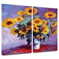 'Sunflowers' by Claude Monet 2 Piece Gallery-Wrapped Canvas Art Set