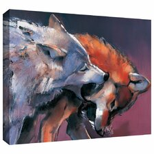 'Two Wolves' by Mark Adlington Painting Print Gallery-Wrapped on Canvas