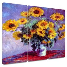 'Sunflowers' by Claude Monet 3 Piece Gallery-Wrapped Canvas Art Set