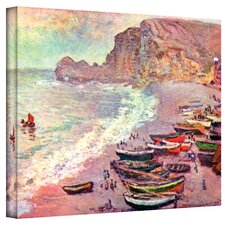''Cliffside Boats'' by Claude Monet Painting Print on Canvas