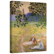 ''Eve in the Meadow at Giverny'' by Claude Monet Canvas Painting Print