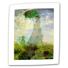 """Lady with Umbrella in Field"" by Claude Monet Painting Print on Canvas"