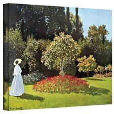 ''Woman in Park with Poppies'' by Claude Monet Painting Print on Canvas