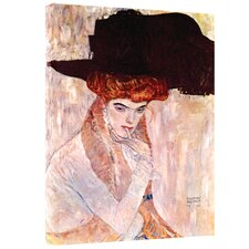 ''The Black Feather Hat'' by Gustav Klimt Painting Print on Canvas