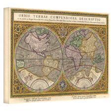 Antique ''Orbis Terrae Compendiosa Descriptio Antique Map'' Graphic Art on Canvas