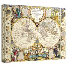 <strong>Art Wall</strong> Antique Maps 'Mappe-Monde Carte Universelle de la Terre Dressee' Gallery-Wrapped Canvas Wall Art
