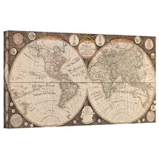 Antique Maps 'A New Map of the World' by Jean Baptiste Nolin Graphic Art Canvas