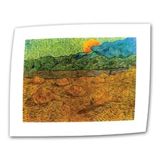 """Evening Landscape with Rising Moon"" by Vincent van Gogh Painting Print on Canvas"