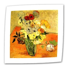 """Japanese Vase with Roses and Anemones"" by Vincent van Gogh Painting Print on Canvas"