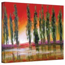'Tuscan Cypress Sunset' by Susi Franco Painting Print on Canvas