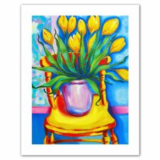 'Yellow Tulips in van Gogh's Chair' by Susi Franco Painting Print on Canvas