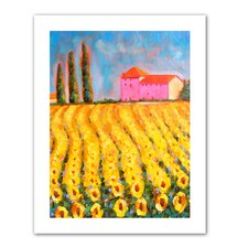 'Cyress and Sunflowers at Vall De Lot' by Susi Franco Painting Print on Canvas
