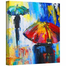 'Red Umbrella' by Jan Susi Franco Painting Print Canvas