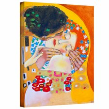 'Interpretation of The Kiss by Gustav Klimt' by Susi Franco Painting Print on Canvas