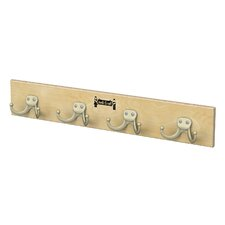 Wall Mount 4 Hooks Coat Rail