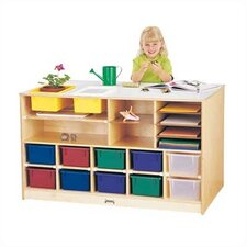 Mobile Storage Island - Twin 18 Compartment Cubby