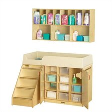 "<strong>Jonti-Craft</strong> Diaper Organizer/Changer Combo with Stairs - Rectangular (48.5"" x 23.5"")"