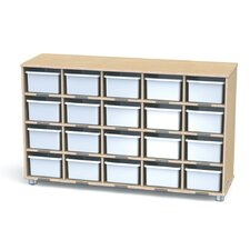 TrueModern Twenty-Cubbie Shelf With Cubbie Trays
