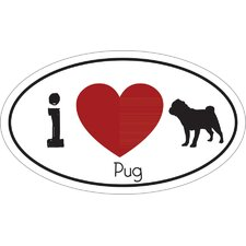 I Heart Pug Car Magnet