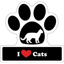 Cat Lover Paw Car Magnet