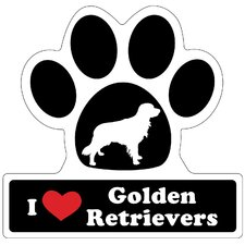 Golden Retriever Paw Car Magnet