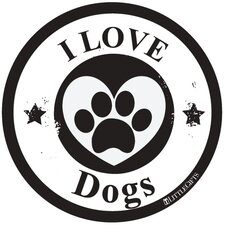I Love Dogs Circle Car Magnet