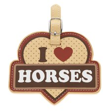 I Love Horses Luggage Tag