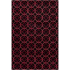 Cinzia Black Geometric Circles Area Rug