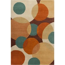 Cinzia Brown Geometric Circles Rug