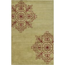 Cinzia Green / Red Abstract Area Rug
