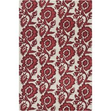 Cinzia White/Red Burgundy Floral Rug