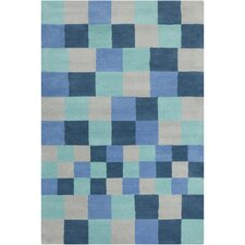 Cinzia Navy Blue / Grey Geometric Blocks Area Rug