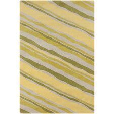 Cinzia Green / Yellow Striped Area Rug