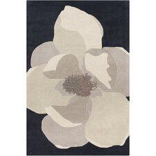 Cinzia Black / White Big Flower Area Rug