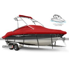 V-Hull Runabout Boat Cover with Ski Tower