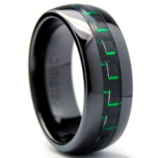 Dome Men's Ceramic Carbon Fiber Comfort Fit Wedding Band