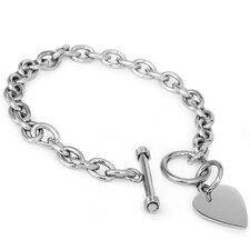 Heart Tag Cubic Zirconia Link Bracelet