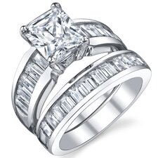 Sterling Silver Radiant Cubic Zirconia Engagement Ring