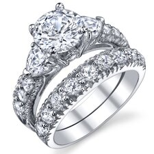 Sterling Silver Round Cubic Zirconia 925 Engagement Bridal Rings Set