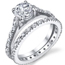Sterling Silver Round Cubic Zirconia 925 Engagement Bridal Ring Set