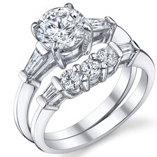 Sterling Silver Round Cubic Zirconia 925 Wedding Engagement Ring Set