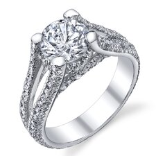 Solid Sterling Silver Round Cubic Zirconia 925 Engagement Bridal Ring